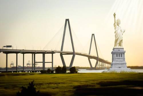 Charleston Harbor Statue of Liberty Male Version