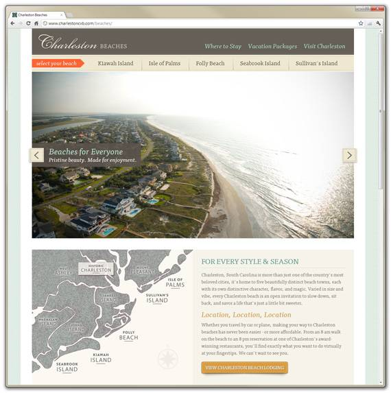 Charleston Beaches Website - Home Page