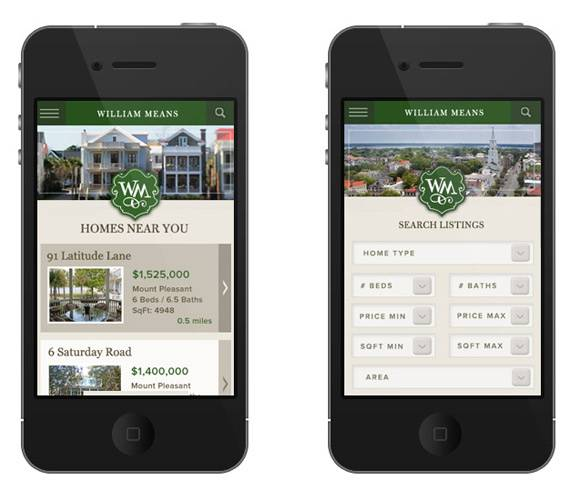 William Means real estate mobile site screen shot 1
