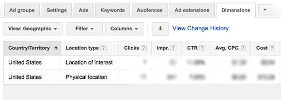 adwords dimensions geographic report