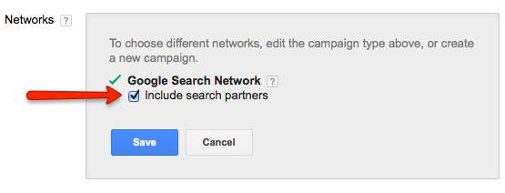 adwords search network settings