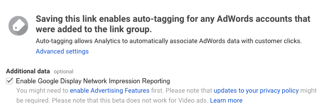 Enable Google Display Network Impression Reporting